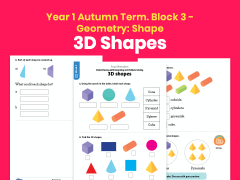 Y1 Autumn Term – Block 3: 3D shapes maths worksheets