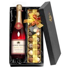 Personalised Sparkling Rosé Wine & Chocolates