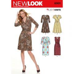 Mock Wrap Knit Dress Sewing Pattern