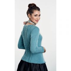 Classic Cable and Lace Teal Cardigan Knitting Pattern