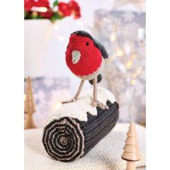 Christmas Yule Log & Robin Decoration Knitting Pattern
