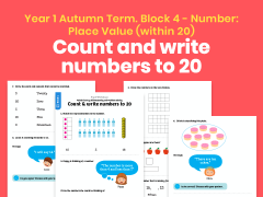 Y1 Autumn Term – Block 4: Count & write numbers to 20 maths worksheets