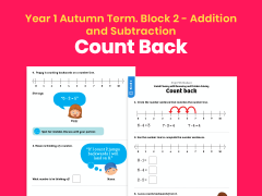 Y1 Autumn Term – Block 2: Count back maths worksheets