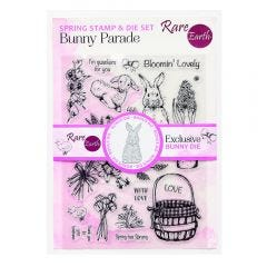 Rare Earth Bunny Parade Stamp sheet and die