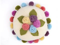 Knitted Pearl Round Floral Cushion by Nicola Valiji in Deramores Studio DK