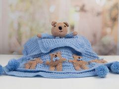 Newborn Baby Boy Set (Teddy) Knitting Kit and Pattern