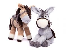 Knitted Dolly the Donkey & Bramble the Horse in Deramores Studio DK by Amanda Berry