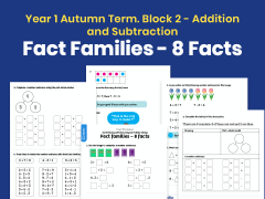 Y1 Autumn Term – Block 2: Fact families – 8 facts maths worksheets