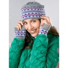 Fair Isle Knitted Hat, Cosy Wristwarmers & Coin Purse Set Knitting Pattern