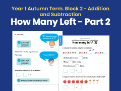 Y1 Autumn Term – Block 2: How many left? (2) maths worksheets