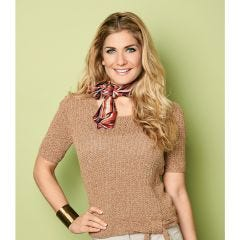 Knitted Ribbed Top with Bow Knitting Pattern