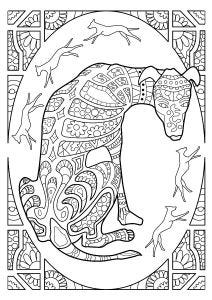 Lurcher Hound Colouring Page