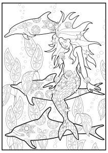 Mermaid and Dolphin Colouring Page