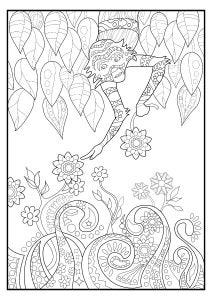 Monkey and Flowers Colouring Page