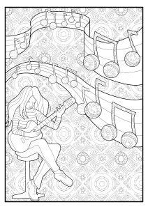 Musical Girl Colouring Page