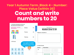 Y1 Autumn Term – Block 4: Numbers from 11 to 20 maths worksheets