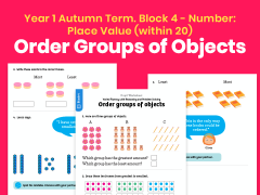 Y1 Autumn Term – Block 4: Order groups of objects maths worksheets