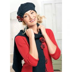 Pretty Knitted Beret, Scarf & Corsage Set Knitting Pattern