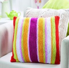 Rainbow Bright Stripy Cushion Cover Knitting Pattern