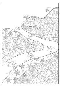 Skiing Colouring Page