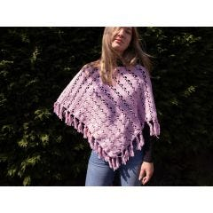 Summer Chill Poncho Crochet Kit and Pattern in Deramores Yarn- Petal Pink Colourway S/M