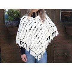 Summer Chill Poncho Crochet Kit and Pattern in Deramores Yarn- Magnolia Colourway L/XL