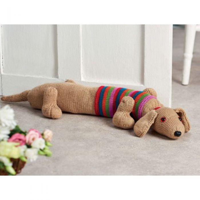 Sausage Dog Draught Excluder Knitting