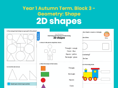 Y1 Autumn Term – Block 3: 2D shapes maths worksheets