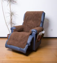 Fleece Recliner Cover with Pockets - Brown