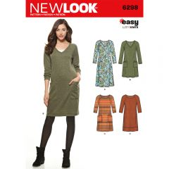 Knit Dress with Neckline & Length Variations Sewing Pattern