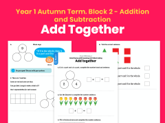 Y1 Autumn Term – Block 2: Add together maths worksheets
