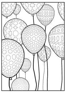 Balloons Colouring Page