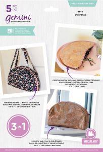 Gemini - Multi Media Die - Multi-Function Die Set - Set 2 Cosmetic Bag/Mini Bowling Bag/Crescent Clutch Bag