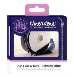 Zips on a Roll - Denim Blue