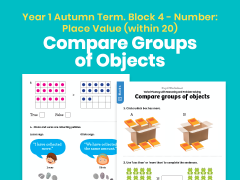 Y1 Autumn Term – Block 4: Compare groups of objects maths worksheets