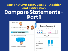 Y1 Autumn Term – Block 2: Compare statements (1) maths worksheets