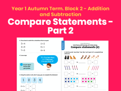 Y1 Autumn Term – Block 2: Compare statements (2) maths worksheets