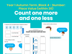 Y1 Autumn Term – Block 4: Count one more and one less maths worksheets