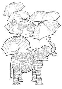 Elephants with Umbrellas Colouring Page