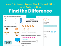 Y1 Autumn Term – Block 2: Find the difference maths worksheets