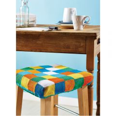 Home Comforts Colourful Stool Cover Knitting Pattern