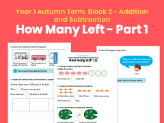 Y1 Autumn Term – Block 2: How many left? (1) maths worksheets