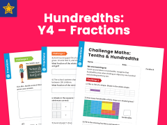 Hundredths Year Four Fractions Maths Challenge