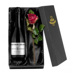 Personalised Contemporary Prosecco & Silk Rose