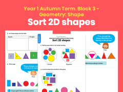 Y1 Autumn Term – Block 3: Sort 2D shapes maths worksheets